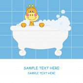 Baby boy arrival announcement card. Giraffe in the bath poster