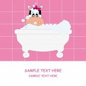 Baby girl arrival announcement card. Cow in the bath poster