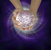 What are your lucky numbers - female hands cupped around a large crystal ball with random numbers emerging  on a  purple black spiraling energy field background with copy space below poster