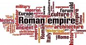 Roman empire word cloud concept. Vector illustration poster