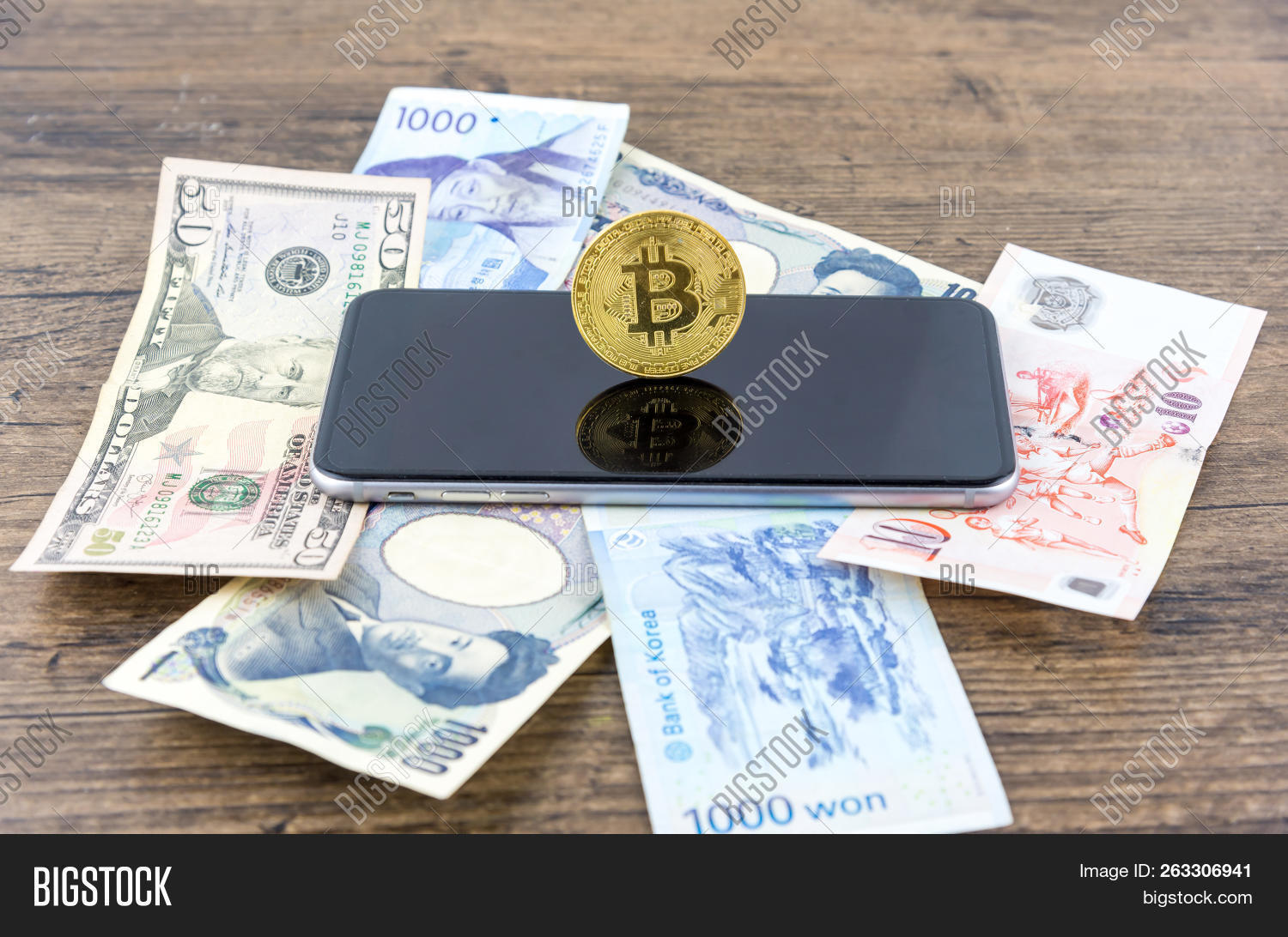 Businessman Shake Hands On Bitcoins And Banknotes Dollars Money Won Yen The Form Of Digital Cryptocurrency An Intermediary In Exchange Goods