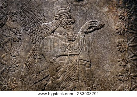 Winged Genie Panel, Made From Alabaster Circa 883-859 Bce, Decorated An Neo-assyrian Royal Palace Of