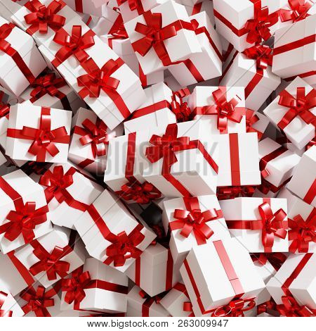 Gift background for Christmas with a bunch of gifts in red white (3D Rendering)