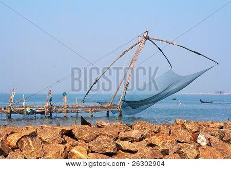 Chinesische Fischernetze in Fort Cochin, Indien