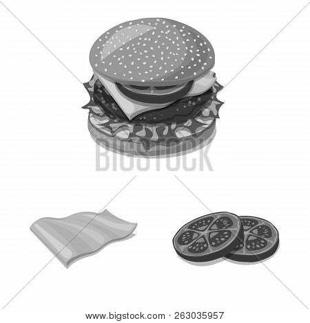 Vector Illustration Of Burger And Sandwich Logo. Set Of Burger And Slice Stock Vector Illustration.