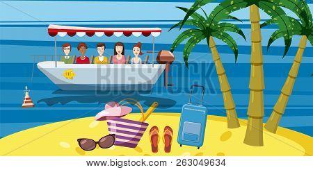 Sea Rest Boat Ride Banner Vertical Concept. Cartoon Illustration Of Sea Rest Boat Ride Banner Vertic