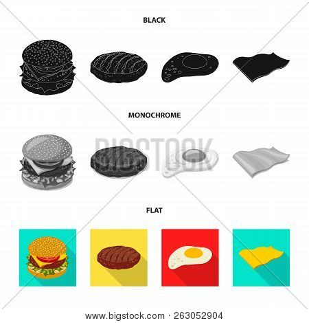 Vector Illustration Of Burger And Sandwich Icon. Set Of Burger And Slice Stock Symbol For Web.