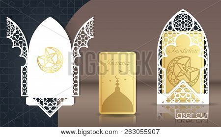 Design Greeting Cards For The Muslim Holiday. Laser Cut Arabian Girih Pattern, Frame 3d. Woven Geome