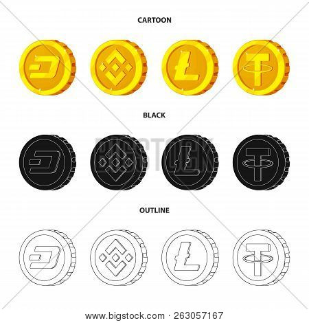 Vector Illustration Of Cryptocurrency And Coin Sign. Collection Of Cryptocurrency And Crypto Stock V
