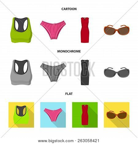 Vector Design Of Woman And Clothing Logo. Set Of Woman And Wear Vector Icon For Stock.
