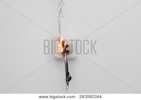 Electricity Short Circuit. Failure Resulting In Wire Burnt.