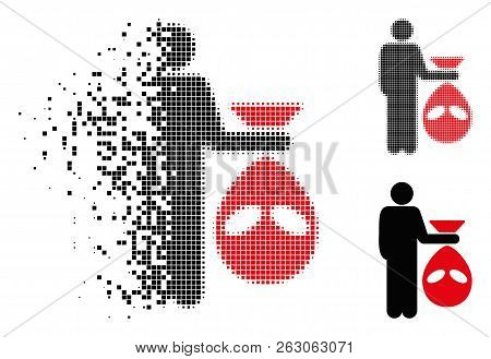Alien Scalp Icon In Dispersed, Dotted Halftone And Undamaged Solid Variants. Particles Are Grouped I