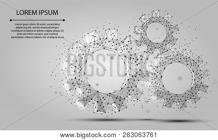 Abstract Line And Point Grey Gear. Polygonal Low Poly Background With Connecting Dots And Lines. Vec