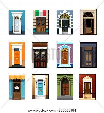 Entrance Doors. Set Of Entrance Doors. Set Of Entrance Doors In A Flat Style. Set Of Colorful Front