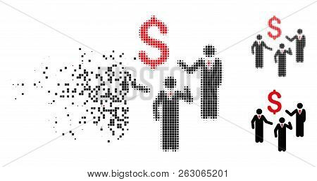 Financial Discussion Businessmen Persons Icon In Dissolved, Dotted Halftone And Undamaged Entire Var