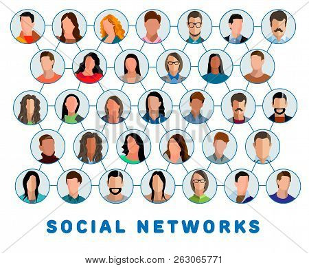 Social Networks. Connected People And Social Network. Creative Social Networking People. Social Netw