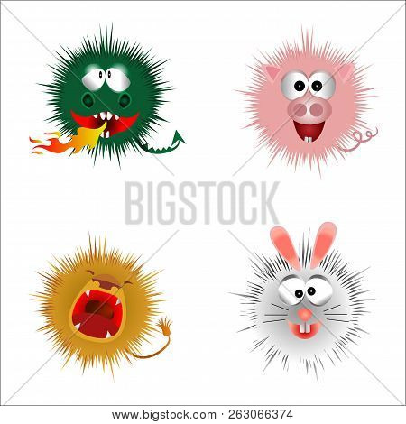 Cartoon Fluffy Monsters On A White Background. Vector Illustration.