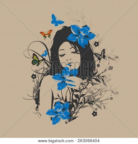 Sketch. Summer Style. Girl With Flowers In Her Hair. Vector Illustration.