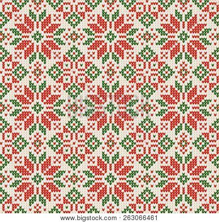 Ugly Sweater Christmas Season Winter Seamless Background Scandinavian Ornaments.