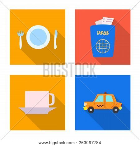 Vector Illustration Of Airport And Airplane Icon. Set Of Airport And Plane Vector Icon For Stock.