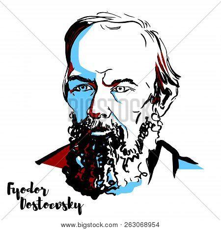 Fyodor Dostoevsky Engraved Vector Portrait With Ink Contours. Russian Novelist, Short Story Writer,