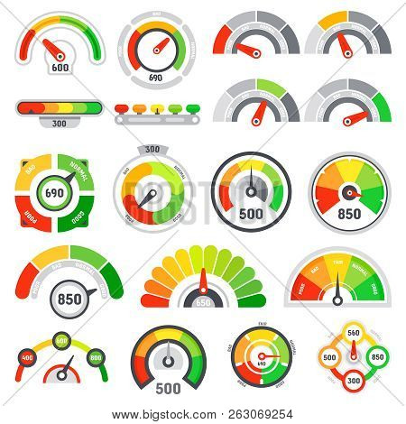 Credit Score Speedometer. Goods Rating Indication, Good Gauge Indicator And Graph Speedometers Level