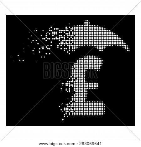 Pound Finances Roof Icon With Dissolved Effect On Black Background. White Fragments Are Arranged Int