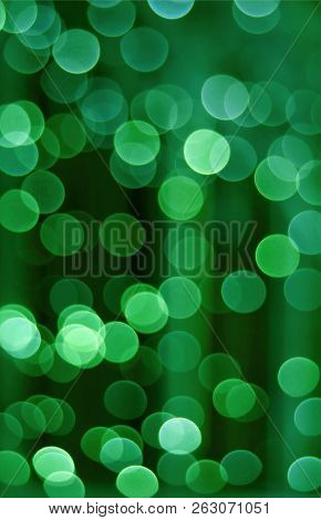 Vertical Photo Of Abstract Blurred Interior Decorated Lighting In Green Color Gradation, For Backgro