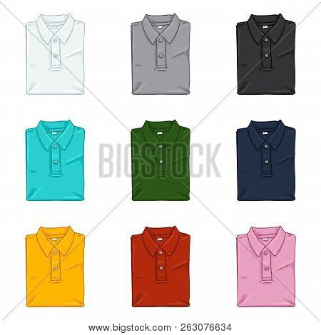Vector Set Of Cartoon Folded Polo Shirts. Color Variations.