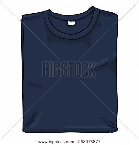 Vector Single Cartoon Illustration - Folded Dark Blue T-shirt