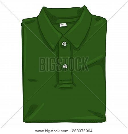 Vector Single Cartoon Illustration - Folded Green Polo Shirt