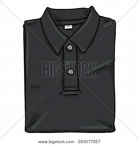 Vector Single Cartoon Illustration - Folded Black Polo Shirt