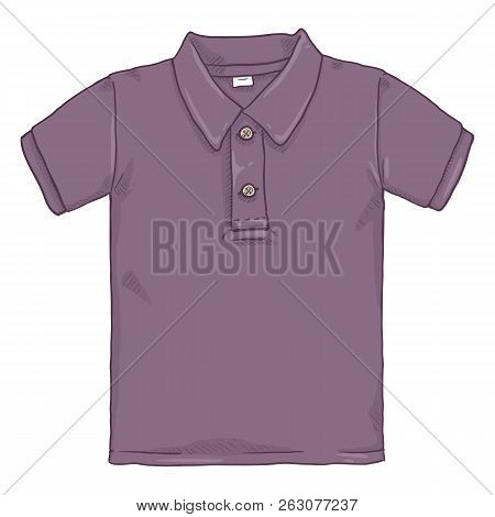 Vector Single Cartoon Illustration - Purple Polo Shirt