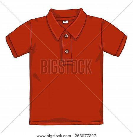 Vector Single Cartoon Illustration - Red Polo Shirt