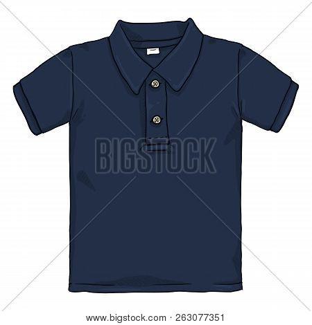 Vector Single Cartoon Illustration - Dark Blue Polo Shirt