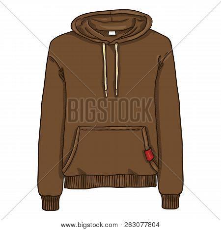 Vector Single Cartoon Illustration - Brown Hoodie Sweatshirt