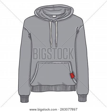 Vector Single Cartoon Illustration - Light Gray Hoodie Sweatshirt