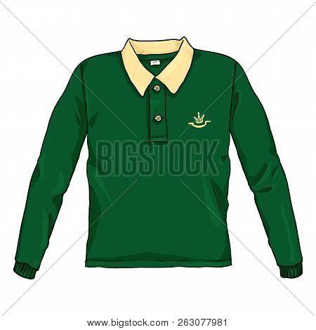 Vector Single Cartoon Color Illustration - Green Rugby Shirt