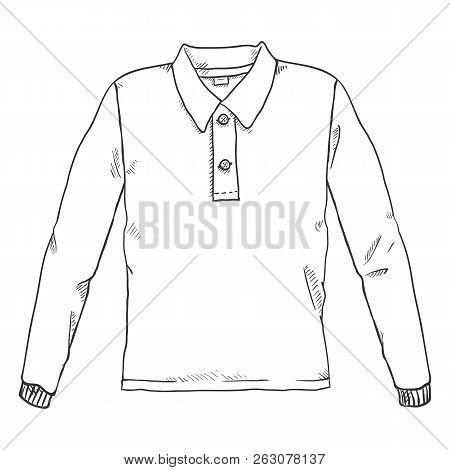 Vector Single Black Sketch Illustration - Rugby Shirt