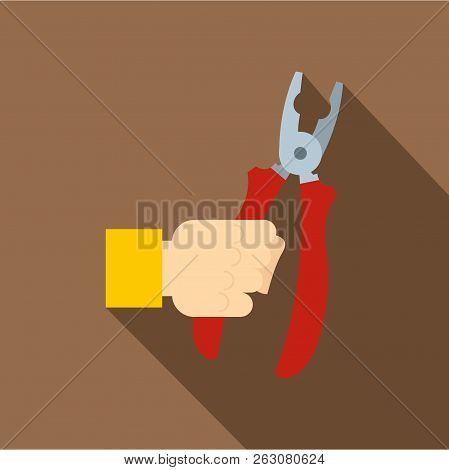 Hand Holding Pliers With Red Handles Icon. Flat Illustration Of Hand Holding Pliers With Red Handles