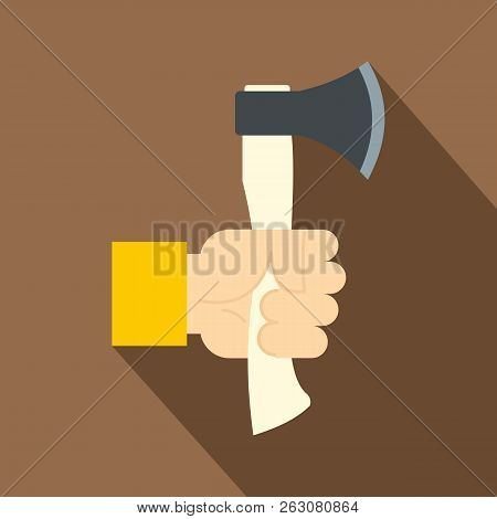 Hand Holding Axe With Wooden Handle Icon. Flat Illustration Of Hand Holding Axe With Wooden Handle I