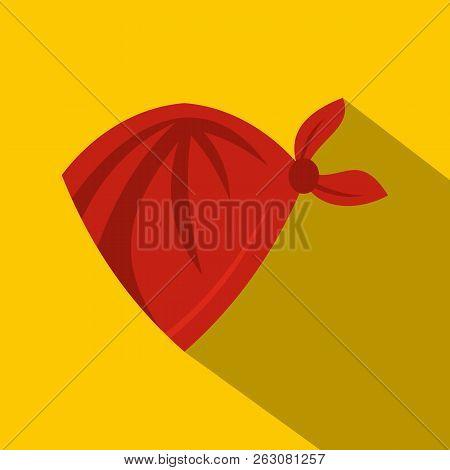 Red Cowboy Neckerchief Icon. Flat Illustration Of Red Cowboy Neckerchief Icon For Web On Yellow Back