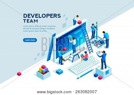 Engineer Team At Project Development, Template For Developer. Coding Develop, Programmer At Computer