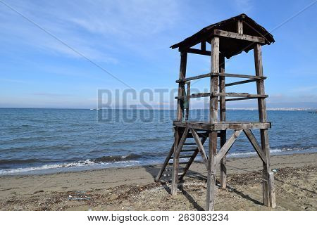 Abandoned Lifeguard Tower At Peraia, Thessaloniki Greece. Blue Sea Background