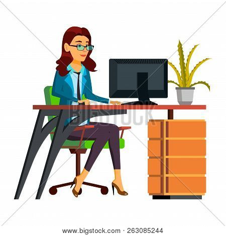 Office Worker Vector. Woman. Professional Officer, Clerk. Secret