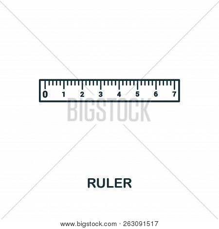 Ruler Outline Icon. Creative Design From School Icon Collection. Premium Ruler Outline Icon. For Web