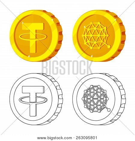 Vector Design Of Cryptocurrency And Coin Logo. Collection Of Cryptocurrency And Crypto Stock Vector