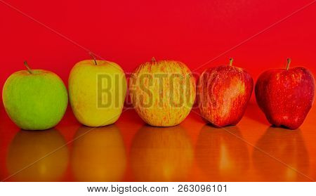 Green Yellow Yellow-red Light Red And Red Apples At Red Background And Wooden Foreground