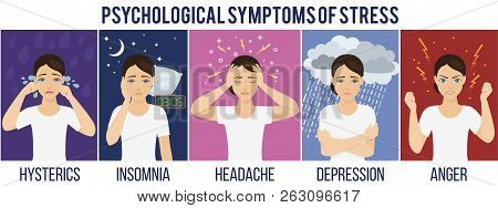 Emotional Health Problems And Symptoms Of Stress - Hysterics, Insomnia, Headache, Depression, Anger.