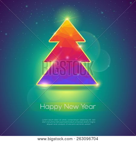 Holiday Cover For Happy New Year Events. Golden Xmas Tree And Flares Of Lights On Christmas Backgrou